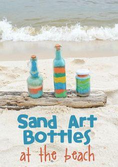 Sand Art Bottles Craft at the Beach