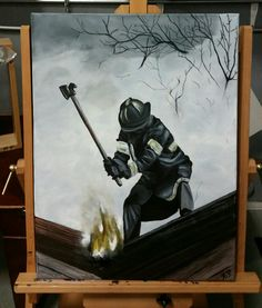 Vintage fireman  Acrylic paint on black canvas