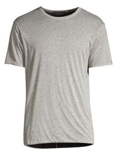 Rag /& Bone Men's Lt Grey Heather Owen Linen Crew-Neck Short Sleeve Pocket Shirt