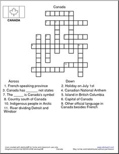 Crossword: Canada - 1 ACROSS: A French-speaking province.