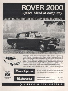 Rover 2000 ad 1964 - Mann Egerton and Botwoods Rover P6, Advertising, Ads, Car Posters, Commercial Vehicle, Cars And Motorcycles, Over The Years, Cool Cars, Classic Cars