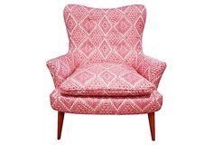 One Kings Lane, Sonya Chair, Pink, mid century legs, good fabric choice
