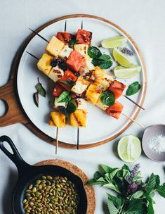 Watermelon and Halloumi Skewers with fresh herbs, toasted pumpkin seeds, lime and jalapeños!