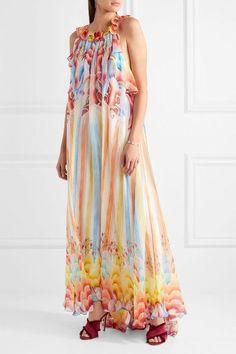 Temperley London - Nymph Printed Silk-chiffon Halterneck Gown - Red - UK14