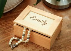 Bridesmaid Gift Ideas - Personalized Jewelry Box, Man's Valet Box, Engrave…