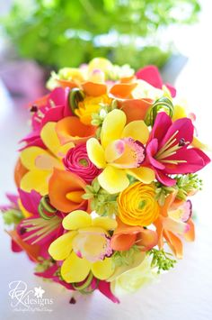 DK Designs: Vibrant, Tropical Destination Wedding Bouquet... Oranges, Yellows and Pinks