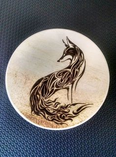 Fire Fox pyrography (wood burning)