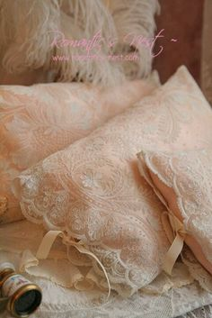 These are gorgeous!!! Gives me an idea of how to make mine for my new bedroom... And maybe do a duvet cover. I'll have to see how much lace I have. Lace pillow shams!