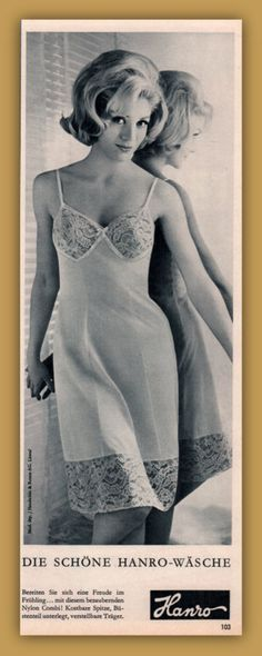 1963 Ad Hanro Slip Lace Overtly Sexual Blonde a Tigress in her Lingerie Lingerie Drawer, Satin Lingerie, Vintage Lingerie, Advertising, Ads, Petticoats, Vintage Humor, Night Gown, Nylons