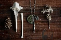 Naturalist Necklace  Larsonite Branch Pine by jonesingforjewelry