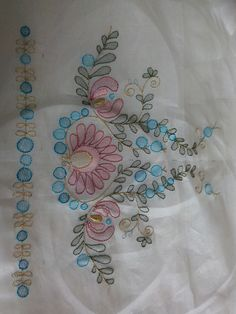Fabric Painting Tutorial: With this tutorial we'll explain to you utilizing Country Chic Paint to cu Herb Embroidery, Hand Embroidery Flowers, Embroidery On Clothes, Hand Embroidery Stitches, Embroidery Fashion, Embroidery Techniques, Beaded Embroidery, Border Embroidery Designs, Kurti Embroidery Design