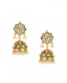 Jhumka Earrings with Kundan Floral Top by Anjali Jain - #Gold #Earrings #Multicolour #Ethnic #Bling #India #Fashion #Jewelry #Indian #Designer #Jewellery #Multicolor #Desi #Stones #Kundan #Beads #Jhumka #Pearl #Traditional #Golden #Floral #Bangles #Necklaces Indian Ethnic Fashion - Jewelry Designs of India - Jewellery for Festive Dressing - Jewelry Styles for Indian Weddings - Bridal Jewellery
