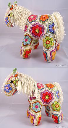 Замечательная лошадка фрагментом Африканский Цветок. Crochet Animal Patterns, Stuffed Animal Patterns, Crochet Animals, African Flowers, Textiles, Loom Weaving, Projects To Try, Quilts, Embroidery
