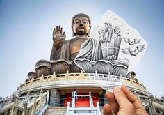 Hanging out with The Buddha  Pencil Vs Camera: 30 Amazing Optical Illusions by Ben Heine • Page 2 of 5 • BoredBug