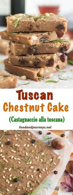 Cake | Italian | Tuscany | Chestnut Recipes | Castagnaccio | Dessert. This typical fall dessert is also a very healthy one! Mix chestnut flour with nuts and raisins and you get a slightly sweet, deliciously authentic Italian dessert! #cakerecipes #italianrecipes #falldessert #dessertrecipes