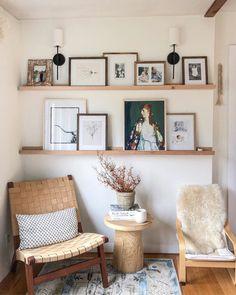 living room by mStarr design / gallery ledge Shelf Over Bed, Shelves Above Couch, Bed Shelves, Picture Shelves, Picture Ledge, Gallery Wall Shelves, Eclectic Gallery Wall, Photo Ledge, Gallery Wall Bedroom