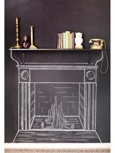 chalkboard fireplace @Jenn L Thomas y'all should do this on your game room chalk wall!