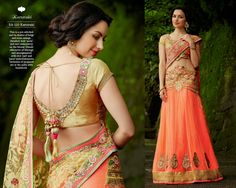 Look Beautiful on any Occasion in Beige and Neon Orange Designer Net Shoulder Pallu,Plain Net Skirt Lehenga Style Saree with Heavy Silk Blouse and Santoon Inner. Parsi, Jari & Stone Work With Heavy Lace On Border.
