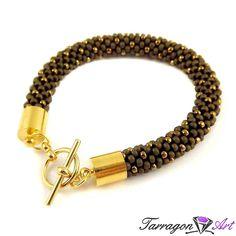 Bransoletka szydełkowo koralikowa Seed Beads - Bronze - Seed Beads / Bransoletki - Tarragon Art - stylowa biżuteria artystyczna