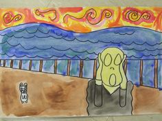 """2nd grade-line color-warm/cool/neutral-""""The Scream"""" by Munch"""