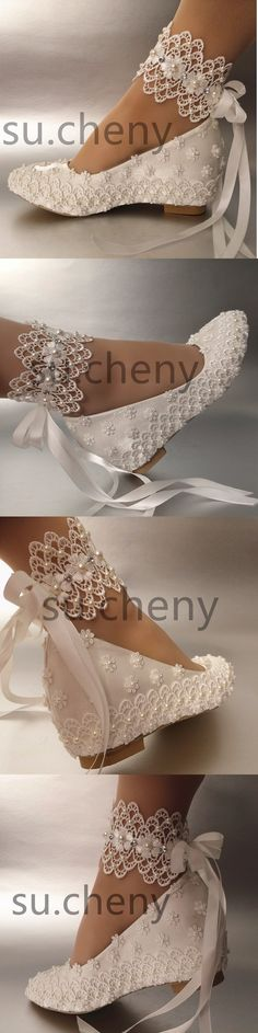 Wedding Shoes And Bridal Shoes  2 Heel Wedge White Silk Satin Lace Pearl  Ribbon Ankle 3a6d838e58b3