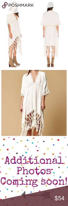 """SOMEDAYS LOVIN Sweet Talking Fringe Midi dress S EUC it is actually brand new but has been hand laundered once. Breezy cotton gauze with crochet trim and fringe make this perfect for the beach or pool.  It is fairly sheer So to wear as a dress you might want to add a slip. Hi-low hem Caftan oversized shape.  Waist aprox 19"""" Front length 31"""" - 41"""" Back length 39"""" - 61""""  Review all photos thoroughly Feel free to ask questions   📎Measurements are approximate  ✏️Save 15% on bundles of 3 or more…"""