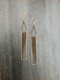 Deco Geometric Hammered Gold Rectangle by LoopHandmadeJewelry