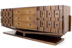 Walnut Sculptural Figural Evans Style Credenza Dresser