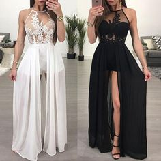 lace prom dresses long chiffon white halter a line sexy formal dress prom gowns casemento vestido de longo Sexy Formal Dresses, Cute Prom Dresses, Prom Outfits, Grad Dresses, Party Dresses For Women, Pretty Dresses, Homecoming Dresses, Dress Outfits, Dress Prom