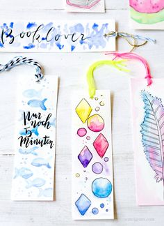 DIY Aquarell Lesezeichen malen | DIY watercolor bookmarks | waseigenes.com DIY Blog