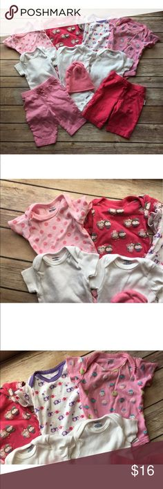 Lot Of 10 Gerber Baby Girl Newborn To 3 Months In good pre-owned condition. No stains rips or holes. The pants have initials in the tag for daycare purposes. The sizes are Newborn and 0-3 months. Gerber Matching Sets
