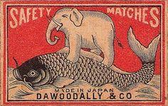 elephant matchbook label | Vintage Matchbox Designs