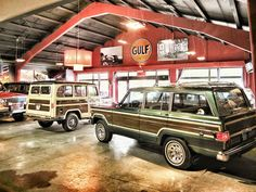 Awesome display of old Jeeps