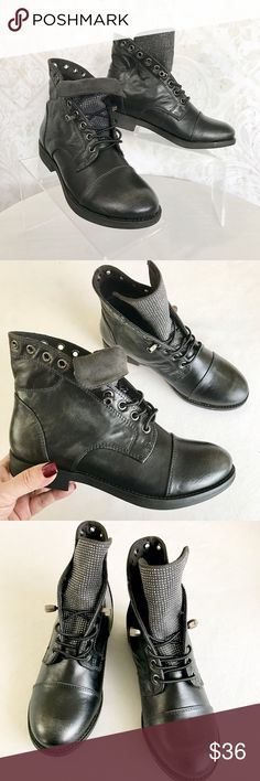 Yellow Box black combat boots w/ silver studs NWOT; never worn. Faux leather, silver tone studs and hardware. More detail to follow. Yellow Box Shoes Combat & Moto Boots