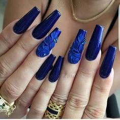 A stylish blue gel nails inspiration - beautifultruth Beautiful Nail Art, Gorgeous Nails, Pretty Nails, Amazing Nails, Amazing Art, Blue Gel Nails, Blue Coffin Nails, Hair And Nails, My Nails