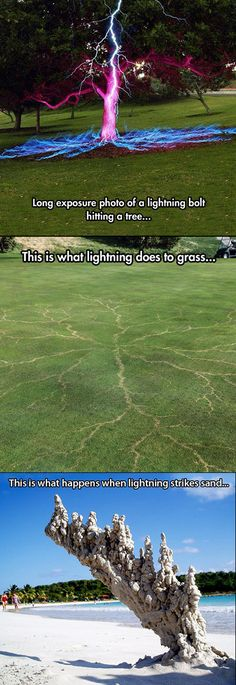 What various objects look like after being struck by lightning.