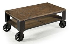 Magnussen Home Pinebrook Rectangular Starter Cocktail Table with Rustic Iron Wheel Base - Colder's Furniture and Appliance - Cocktail or Coffee Table Milwaukee, West Allis, Oak Creek, Delafield, Grafton, and Waukesha, WI
