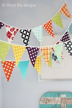 Mini pennant fabric banner - bunting in turquoise, purple, yellow and orange  - good colors for baby room