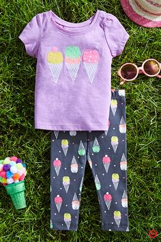 Barefoot fun in the sun! That's what summer is all about. Be prepared for the first day of summer with all the warm-weather essentials for your baby. Comfy, pants with a fun all-over print and a sweet, graphic tee will look great on your little girl. And, don't forget a hat, sunglasses and much-needed sunscreen.