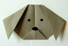 origami animaux à faire avec les enfants - une tête de chien mignonne en papier plié brun naturel