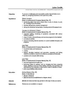 caregiver professional resume templates free sample caregiver resumes