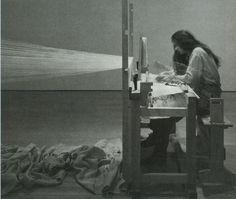 "Janine Antoni, ""Slumber"" (1994), performance: loom, yarn, bed, nightgown, EEG machine & artist's REM readings"