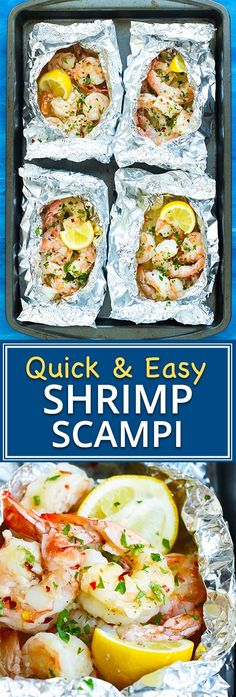 Baked Shrimp Scampi is tossed in a delicious garlic and butter white wine sauce made in convenient foil packets and is healthy low-carb gluten-free low-carb and can be made Paleo and Seafood Recipes, Paleo Recipes, Dinner Recipes, Easy Baked Fish Recipes, Cooking Recipes, Baked Shrimp Scampi, Easy Shrimp Scampi Recipe No Wine, Scampi Sauce Recipe Easy, Garlic Baked Shrimp