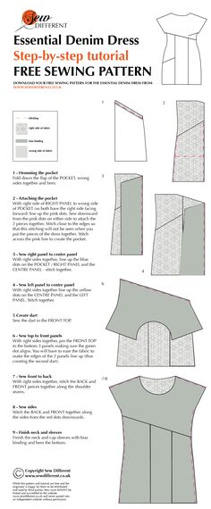 Presumably can make with any similar fabric. Step-by-step tutorial with diagrams for the Essential Denim Dress. FREE sewing pattern and post full of ideas, photos, tips and fabric info to go with it. Sewing Hacks, Sewing Tutorials, Sewing Crafts, Sewing Projects, Tutorial Sewing, Sewing Patterns Free, Free Sewing, Clothing Patterns, Techniques Couture
