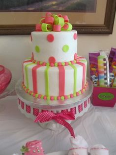 Pretty cake at a  Pink & Green Baby Shower!  See more party ideas at CatchMyParty.com!