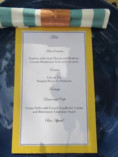 French Dinner Party Menu