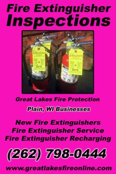 Fire Extinguisher Inspections Plain, WI (262) 798-0444 This is Great Lakes Fire Protection.  Call us Today for all your Fire Protection needs!Experts are standing by...