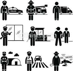 Vector Art : Public Safety and Security Jobs Occupations Careers