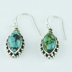 TURQUOISE STONE SPARKLING DESIGN HIGH QUALITY EARRINGS 925 SOLID STERLING SILVER #SilvexImagesIndiaPvtLtd #DropDangle