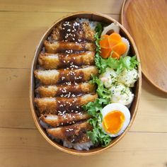Tonkatsu, boiled egg, pototo salad, and carrot bento Bento Recipes, Healthy Recipes, Bento Ideas, Lunch Ideas, Cute Food, Yummy Food, Eat This, Aesthetic Food, Asian Recipes